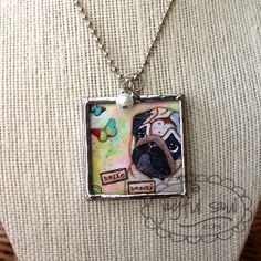 """#KA3001 - HELLO BEAUTY PUG Hand-soldered Charm Necklace.  1 1/2"""" x 1 1/2"""". Original art by Kelle Arvay.  Comes with a Swarovski pearl drop and a 24"""" ballchain.  FREE SHIPPING in the US!"""