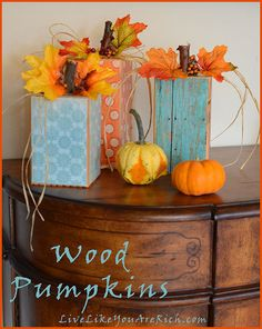 wood pumpkins, DIY and Crafts, Cute craft that is easy, fast, and inexpensive. Wood pumpkins make great decor for the entire fall season. Put up in October and take down when the Ch. Fall Wood Crafts, Wood Block Crafts, Autumn Crafts, Wood Blocks, Wooden Pumpkin Crafts, Thanksgiving Crafts, Wooden Pumpkins, Fall Pumpkins, Halloween Home Decor