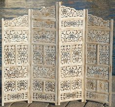 PARAVENT-4-PANEL-INDIAN-HAND-CARVED-WOODEN-SCREEN-ROOM-DIVIDER-SB-FREE-P-P