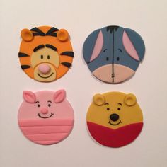 Each set includes: 3 Pooh, 3 Eeyore, 3 Tigger, 3 Piglet  Cupcakes not included.  Please allow 1-2 weeks for your toppers to be made, dried, and