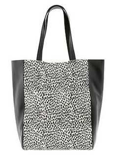 Ashbury Exotic Tote by Banana Republic. Cute tote bag in leather and ocelot printed haircalf