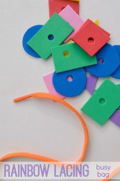 Rainbow shape lacing busy bag:  easy and fun way to practice colors and shapes! My preschooler loves it!