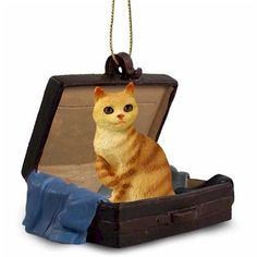 Elegant Hand Painted Red Tabby Manx Figurine Crafted in a Suitcase Ornament