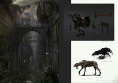 Bloodborne Concept Art - Huntsman/Corrian Crow/Rabid Dog/ Yharnam Concept Art