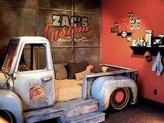 Vintage truck bed for boys room. Cool Boys Room, Boy Room, Car Furniture, Furniture Cleaner, Cool Beds, Kid Beds, Old Trucks, Kids Bedroom, Boy Bedrooms