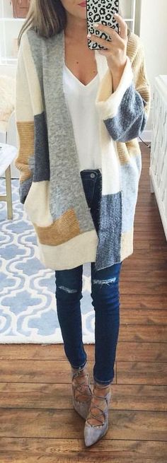 Adorable wool patchwork long cardigan with skinnies, a white tee, & ankle boots---Fall's best workwear or casual warmth.
