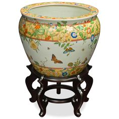 12in Hand Painted Porcelain Fishbowl