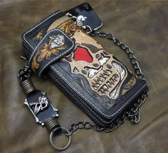 Hand carved leather & snake skin red skull biker wallet with skull chain