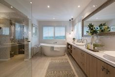 A more refined look to that of Bordeaux, it showcases the refined classic French feel with the Champagne France interior design style by Porter Davis Coastal Bathrooms, Ensuite Bathrooms, Bathroom Tiling, Two Storey House Plans, Champagne France, Porter Davis, Madison Homes, Interior Styling, Interior Design