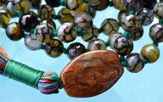 Agate Dragon Vein Prayer Beads 108 Hand Knotted Yoga Mala Beads Neckla – AwakenYourKundalini