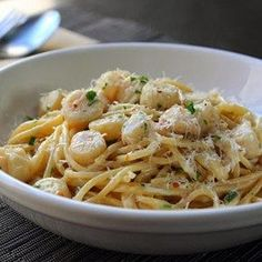 "Creamy Bay Scallop Spaghetti I ""Loved this recipe! Tasted great. Made it as a birthday dinner for my wife who likes scallops."""