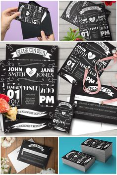 Printed Wedding Invitation Set Rustic Chalkboard Wedding Suite RSVP Save Dates    eBay