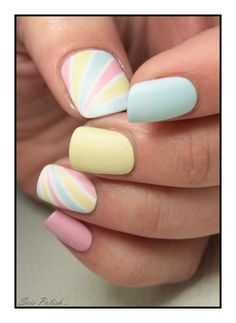 Super cute rainbow pastel nails