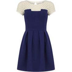 Blue square lace bust dress (610 HNL) ❤ liked on Polyvore featuring dresses, blue, square neckline dress, short sleeve flare dress, lace flare dress, dorothy perkins dress and lacy dress