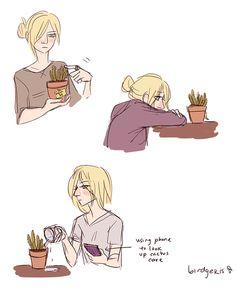 • Mikasa Ackerman Annie Leonhardt mikaani burdarts annie and succulents and cacti otp also with mikasa birdgekis •