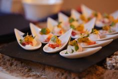 Beautiful canapes - great way to kick off any event;  photo credit Bluesky Photography