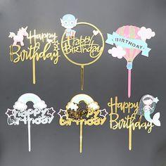 Dorado unicornio adorno acrílico para pastel flamenco Feliz cumpleaños Cupcake Topper para Baby Shower sirena unicornio adornos de pastel de fiesta Flamingo Happy Birthday, Happy Birthday Cake Topper, Flamingo Cupcakes, Acrylic Cake Topper, Unicorn Cake Topper, Mermaid Parties, Cake Decorating Supplies, Baby Shower, Unicorn Party