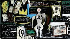 Jean-Michel Basquiat Crown hotel (mona lisa black background)