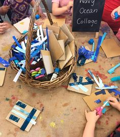 """Teach Make Create on Instagram: """"Wavy Ocean Paper Strip Collages ~ so many textures to explore and lots of glue stick and scissors action for the toddlers!…"""" #reggioinspired #art #ocean #toddler #kindergarten #kinder #prek #preschool #ECE"""