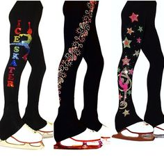 """Ice Skating Pants (Rainbow Ice Skater Design, """"Neon Swirls"""" rhinestuds design, """"Biellmann Stars"""" Design) https://figureskatingstore.com/brands/Ice-Fire.html 🔹Rainbow Ice Skater Pants featuring 7 vibrant rhinestone colors and """"Landing"""" skater position. Polartec fabric ideal for ice skating that demand freedom of movement, moisture management, and warmth. #figureskatingstore #figureskating #sport #iceskating #skating #figureskater #iceskate #фигурноекатание #icering #ice #icefire #icedance"""