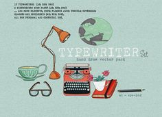 TYPEWRITER SET by Cecília Murgel Drawings on @creativemarket