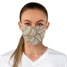 Glam up your mask with this intricate white and gold ethnic print! Awesome Masks, Cool Masks, Ethnic Print, Keeping Healthy, Fashion Mask, Black Mask, Gold Print, Cute Designs, Face Masks