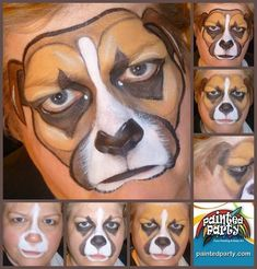 Step by step face dog face painting design #DogFace #stepbystepfacepainting