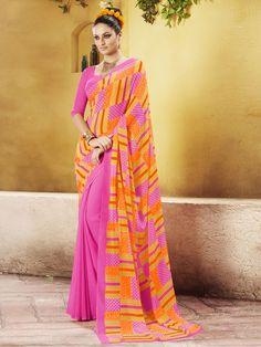 Orange Colur Georgette & Printed Contemporary Sarees   https://www.designersareesuite.com/catalog/product/view/id/25907/s/orange-colur-georgette-printed-contemporary-sarees/category/3/#.Vjd47NIrLIU