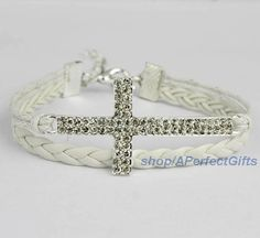Diamond cross bracelet White leather white rope God's blessing Bridesmaid jewelry Cuff jewelry flower girl Daily Mother's Day jewelry by APerfectGifts, $2.99
