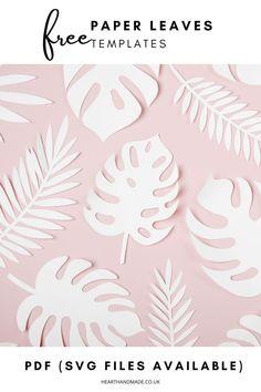 Free Paper Flower Templates, Paper Flower Patterns, Paper Cutting Templates, Paper Flowers Diy, Paper Templates, Butterfly Template, Paper Butterflies, Applique Templates, Felt Patterns