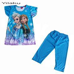 子供の漫画のパジャマセット女の子夏パジャマ子供半袖pijamasエルザアンナ女の赤ちゃんパジャマのスパースターinfantil ck002