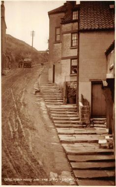 Someone just shared me some C photos from Robin Hood's bay, North Yorks. The place looks like every smoke and salt stained smugglers port of my fevered childhood fantasies! Yorkshire Towns, Yorkshire England, North Yorkshire, Beautiful Places In England, Robin Hoods Bay, Black And White People, Old Street, Main Street, Victorian Life