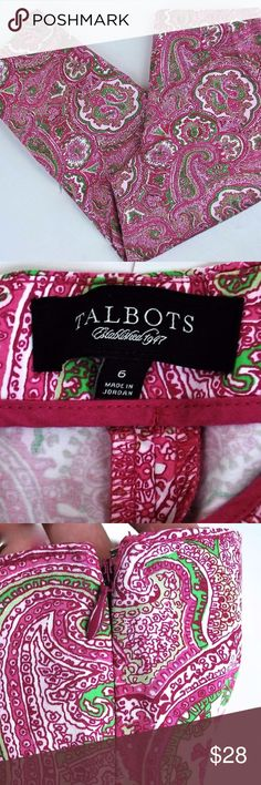 Talbots Capri Pants size 6 pink paisley Talbots Capri pants  • Size 6  • Classic side zip  • EUC, rarely worn  • 97% cotton, 3% spandex  • Color: cotton candy palm dessert print   Hand measured sizes below:  • Rise-10 in.  • Waist-31 in.  • Inseam-23 in  *Please measure & compare your own CURRENT size to above prior to purchase. thank you! Talbots Pants Capris
