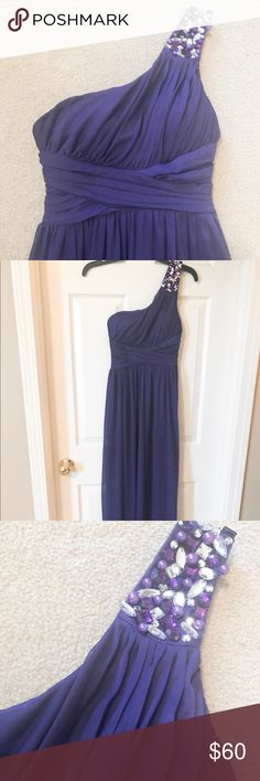 Nordstrom way-in clothing co purple dress Nordstrom way-in clothing co. Purple long dress. One shoulder, beaded. Only worn once! Size 3 junior dress. Nordstrom Dresses One Shoulder