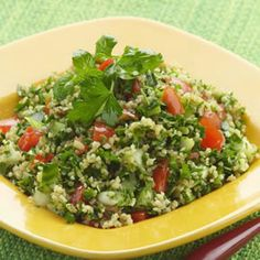 Parsley Tabbouleh - I love this recipe! I used couscous instead of bulgur. I make it 4 hours in advance so the flavours can mingle. Then I put them in a wrap with some roasted chicken and tzatziki and voila you have a Mediterranean Wrap! Lebanese Recipes, Tzatziki, Vegetarian Recipes, Cooking Recipes, Healthy Recipes, Cooking Tips, Tabbouleh Recipe, Bulgur Salad, Eastern Cuisine