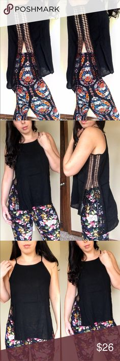 •JUST IN• High Low Lace Slit Tank Top This is one of my favorites! From the moment I put it on I didn't want to take it off. Beautiful high low tank top with lace slit sides. Made of 100% rayon. 🚫 trades. Model is wearing a small in the photos. Tops Tank Tops