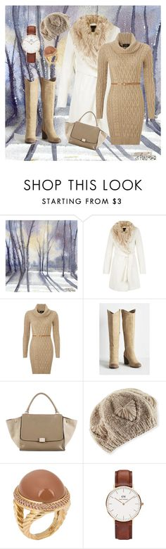 """""""Untitled #99"""" by cpearlz on Polyvore featuring Lipsy, BC Footwear, CÉLINE, Il Borgo, David Yurman, Daniel Wellington, white, Tan, sweaterweather and sweaterdress"""