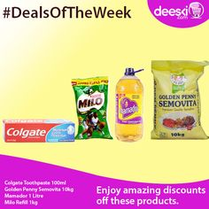 Amazing discounts on these products. Don't be left out. Start shopping today as this offer ends tomorrow.  Log on to Deeski.com to buy yours today.  Shop online at www.deeski.com OR Call/SMS 0814-300-4000 to order. You can also SMS the word 'Order' and a Customer Service Representative will call you back to take your order.  #Deeski #Deals #DealsOfTheWeek #LowestPrices #Wholesale #Retail #Groceries