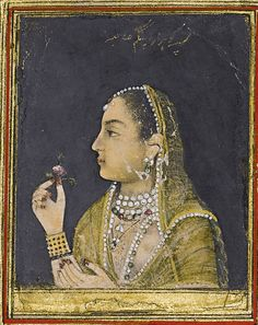 'A portrait of Jahanara Begum, India, Mughal, century' by MotionAge Media Mughal Paintings, Indian Paintings, Abstract Paintings, Art Paintings, Miniature Portraits, Miniature Paintings, Mughal Architecture, Interior Architecture, China Painting