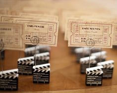 movie ticket escort cards to tables with different movie themes Broadway Wedding, Cinema Wedding, Wedding Movies, Broadway Theme, Theater Wedding, Old Hollywood Theme, Hollywood Party, Vintage Hollywood Wedding, Wedding Places