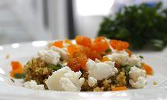 Quinoasalade met geitenkaas en abrikozen