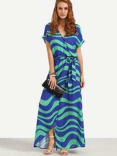 Vestido rayas abertura cruzado color combinado-Spanish SheIn(Sheinside)