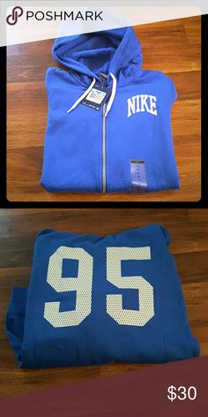 WOMENS NIKE HOODIE Original tags still attached one of my many hoodies I've never worn. Has front pockets and zipper size Medium. Has been kept in a storage bin in my spare bedroom so it is in excellent condition. Nike Tops Sweatshirts & Hoodies