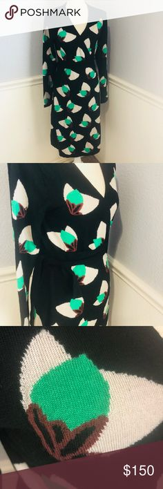 Diane Von Furstenberg Linda 100% Wool Wrap Dress Diane Von Furstenberg  Black and green design 100% Wool Size Large Dresses Midi