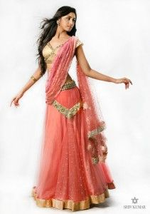 coral and gold sari