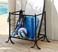 Bronze finish Pool Accessories Storage Bin At Pottery Barn - Organization - Outdoor & Garden Pool Float Storage, Pool Towel Storage, Pool Towels, Towel Rack Pool, Backyard Pool Landscaping, Backyard Ideas, Patio Ideas, Landscaping Ideas, Landscaping Equipment