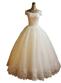 Bridess Women's Sequined Tulle Cap Sleeve Ball Gown Wedding Dress Lace Ivory 16
