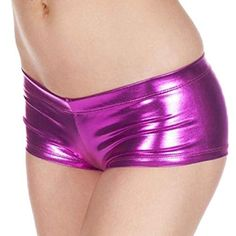 352ec7f77d73 TONSEE Women Sexy Shiny Stretchy Metallic Mini Shorts Hot Pants Purple >>>  See this