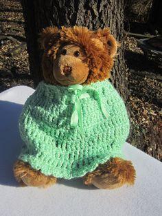 Crocheted Poncho in Green 12 Months to 2 by crochetedbycharlene