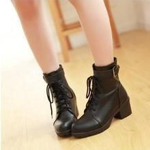 JY Shoes - Belted Lace-Up Short Boots